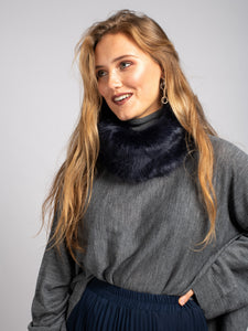 Faux Fur Snood / Ear Warmer, Navy