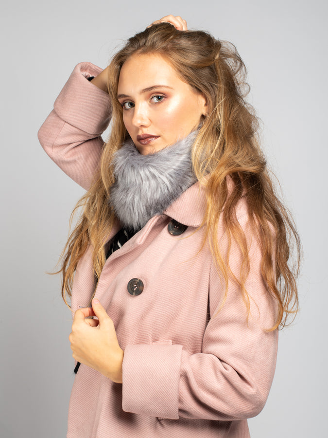 Faux Fur Snood / Ear Warmer, Grey
