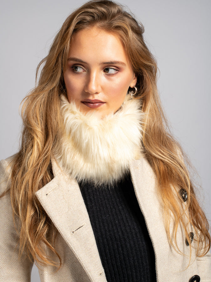 Faux Fur Snood/Headband, Cream