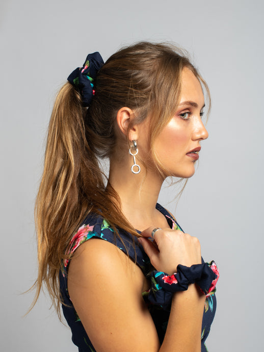 Made in UK Printed Scrunchie, Navy Floral