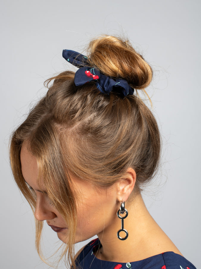 Made in UK- Bow Hair Scrunchie, Navy Cherry