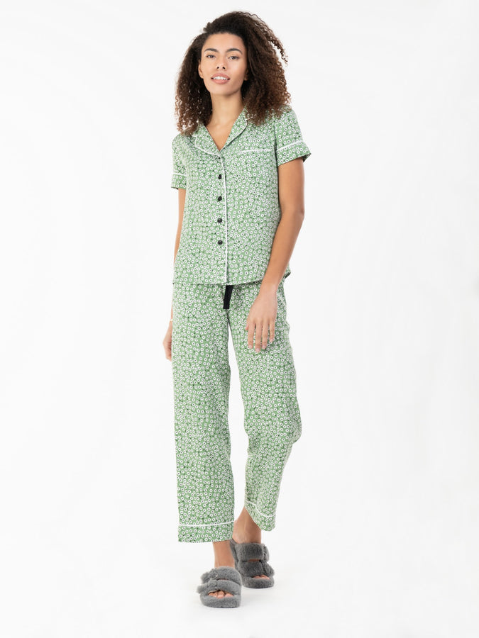 Short Sleeve Pyjama Set, Green Floral