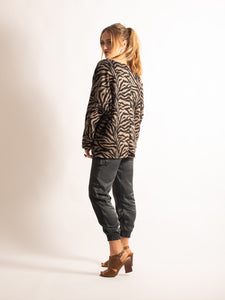 Loose Fitting Top, Brown Zebra Pattern