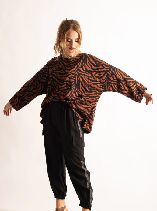 3/4 Sleeve Loose Fitting Top, Dark Orange Zebra