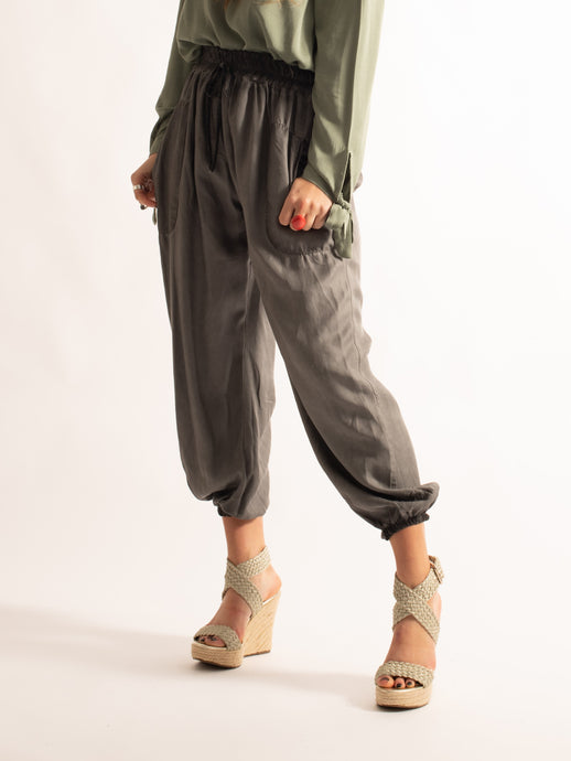 Loose Fitting Joggers with Tie Waist, Grey