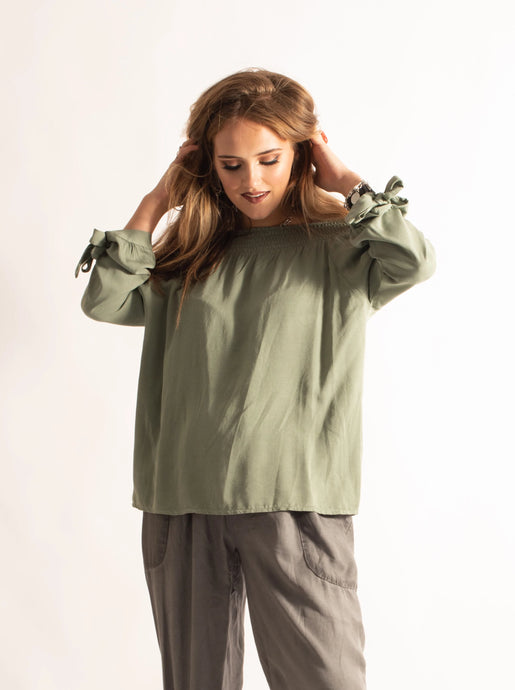 Off-Shoulder Top with Bow Sleeves, Khaki