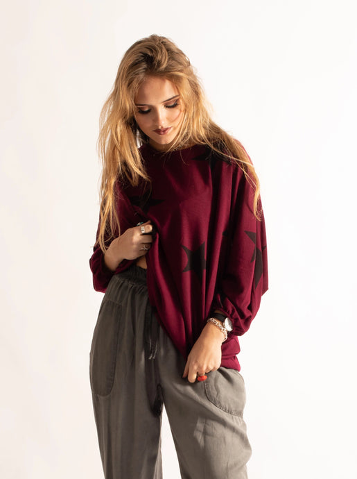 Loose Fitting Tunic with Stars, Burgundy Pattern