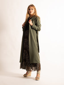 Tie Belt Midi Length Dust Coat, Khaki