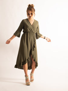 High Low Flare Hem 3/4 Sleeve Dress, Khaki