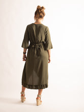 Load image into Gallery viewer, High Low Flare Hem 3/4 Sleeve Dress, Khaki