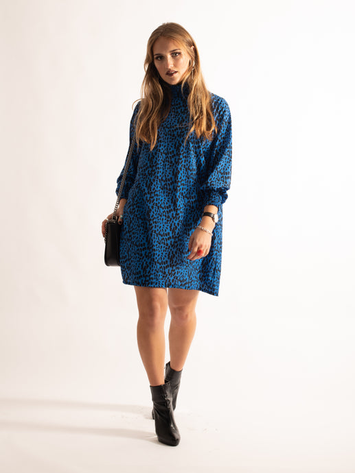 High Neck Printed Loose Fitting Dress, Royal Leopard