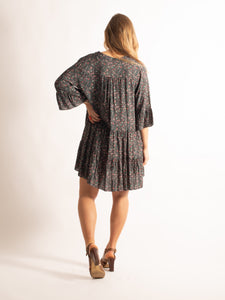 Floral Shirt Dress, Grey Floral