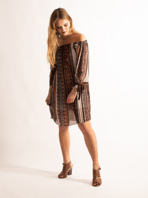 Off-Shoulder Pleated Pattern Dress, Brown Pattern