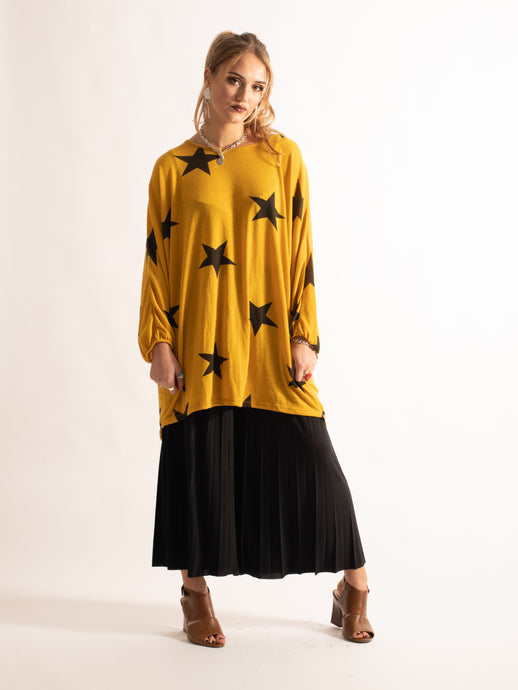 Loose Fitting Star Print Tunic, Yellow Pattern