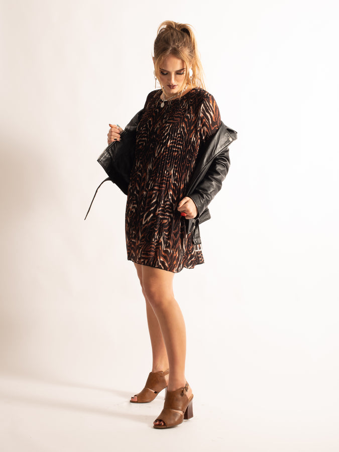 Pleated Printed Tunic, Brown Animal Pattern