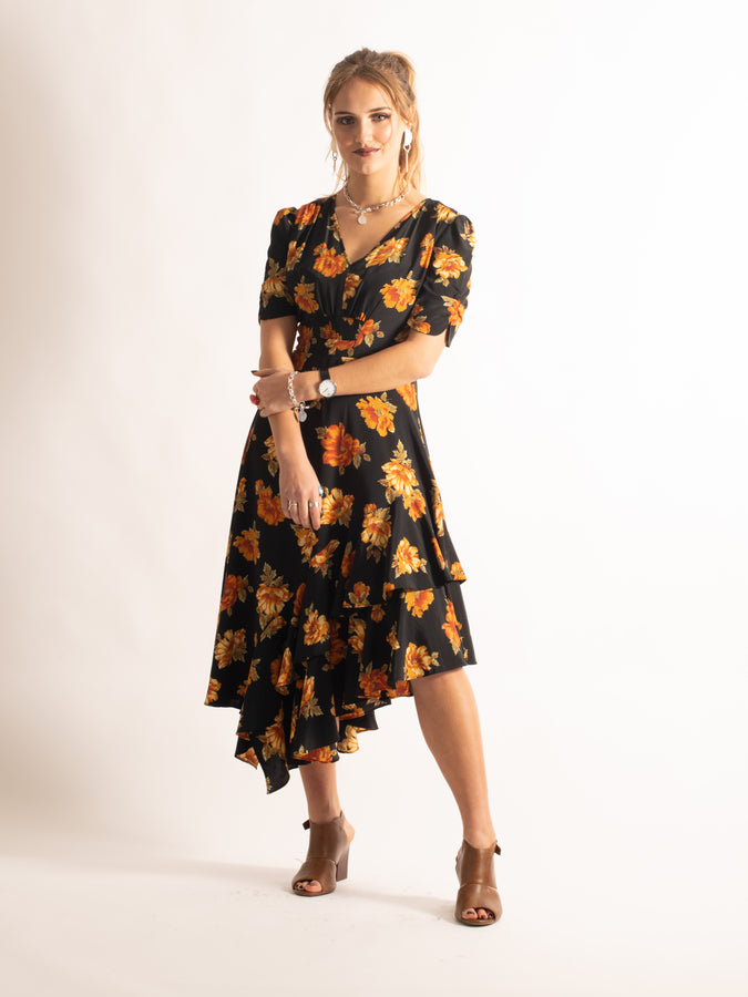 Half Sleeve Dip Hem Floral Dress, Orange Floral