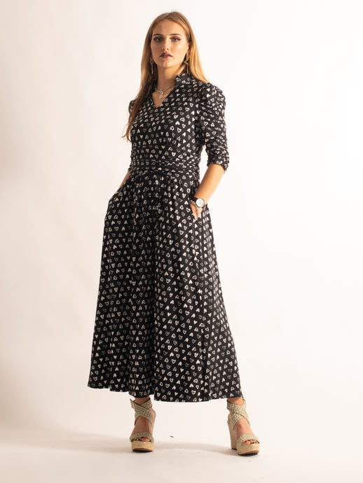 High Neck Print Maxi Dress, Black Heart