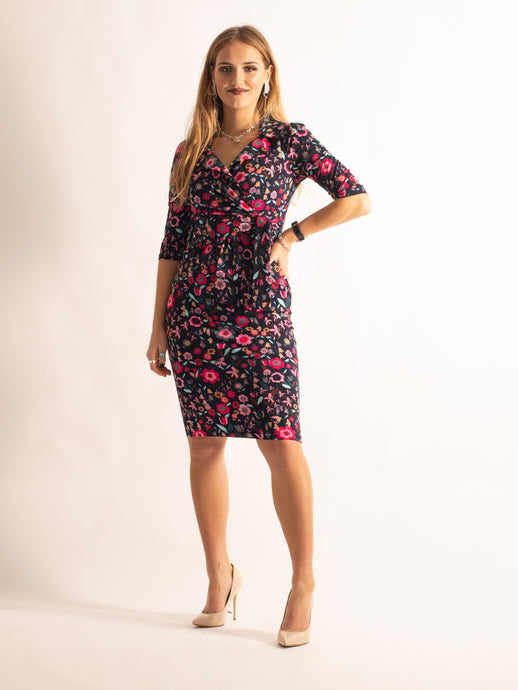 3/4 Sleeve Crossover Tie Dress, Navy Floral