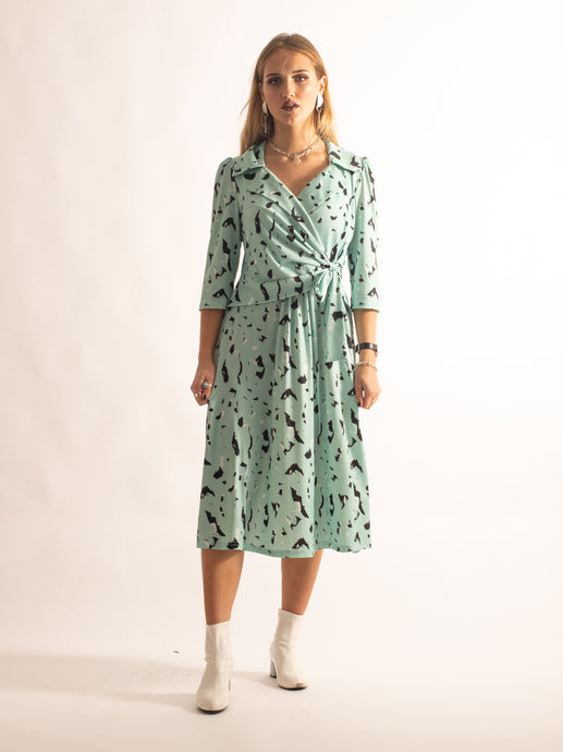 Crossover Tie Collared Tea Dress, Mint Pattern