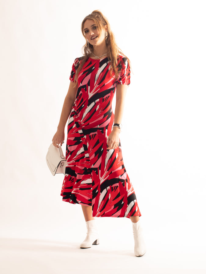 Frill Detail Maxi Dress, Red Pattern