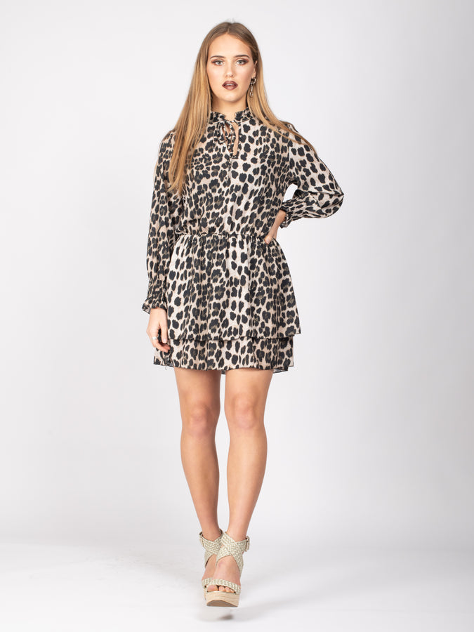 Long Sleeve Tie Neck Layered Dress, Leopard