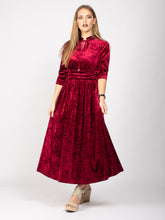 Load image into Gallery viewer, Velvet Tie Neck Maxi Dress, Dark Red