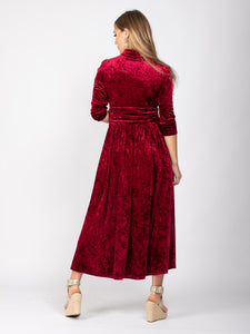 Velvet Tie Neck Maxi Dress, Dark Red