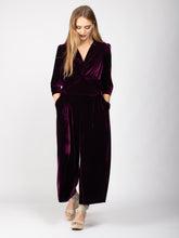 Load image into Gallery viewer, Velvet V-Neck Jumpsuit, Dark Plum