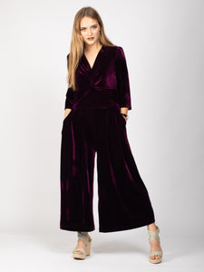 Velvet V-Neck Jumpsuit, Dark Plum