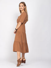 Load image into Gallery viewer, Half Sleeve Flare Hem Dress, Light Brown