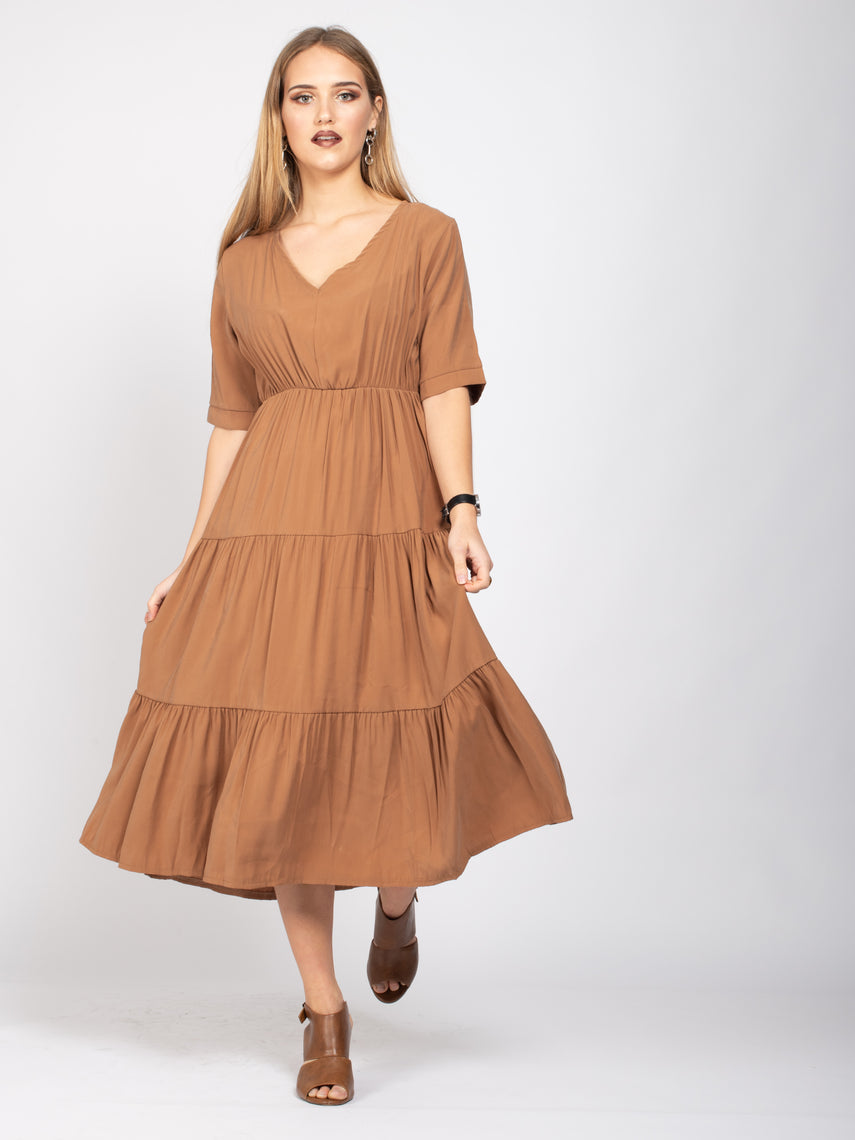 Half Sleeve Flare Hem Dress, Light Brown
