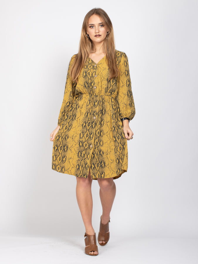Long Sleeve Button Down Dress, Yellow Snake Print