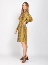 Load image into Gallery viewer, Long Sleeve Button Down Dress, Yellow Snake Print