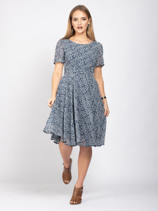 Boat Neck Tie Waist Dress, Light Blue Floral