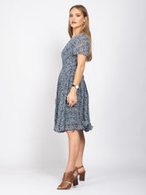 Load image into Gallery viewer, Boat Neck Tie Waist Dress, Light Blue Floral