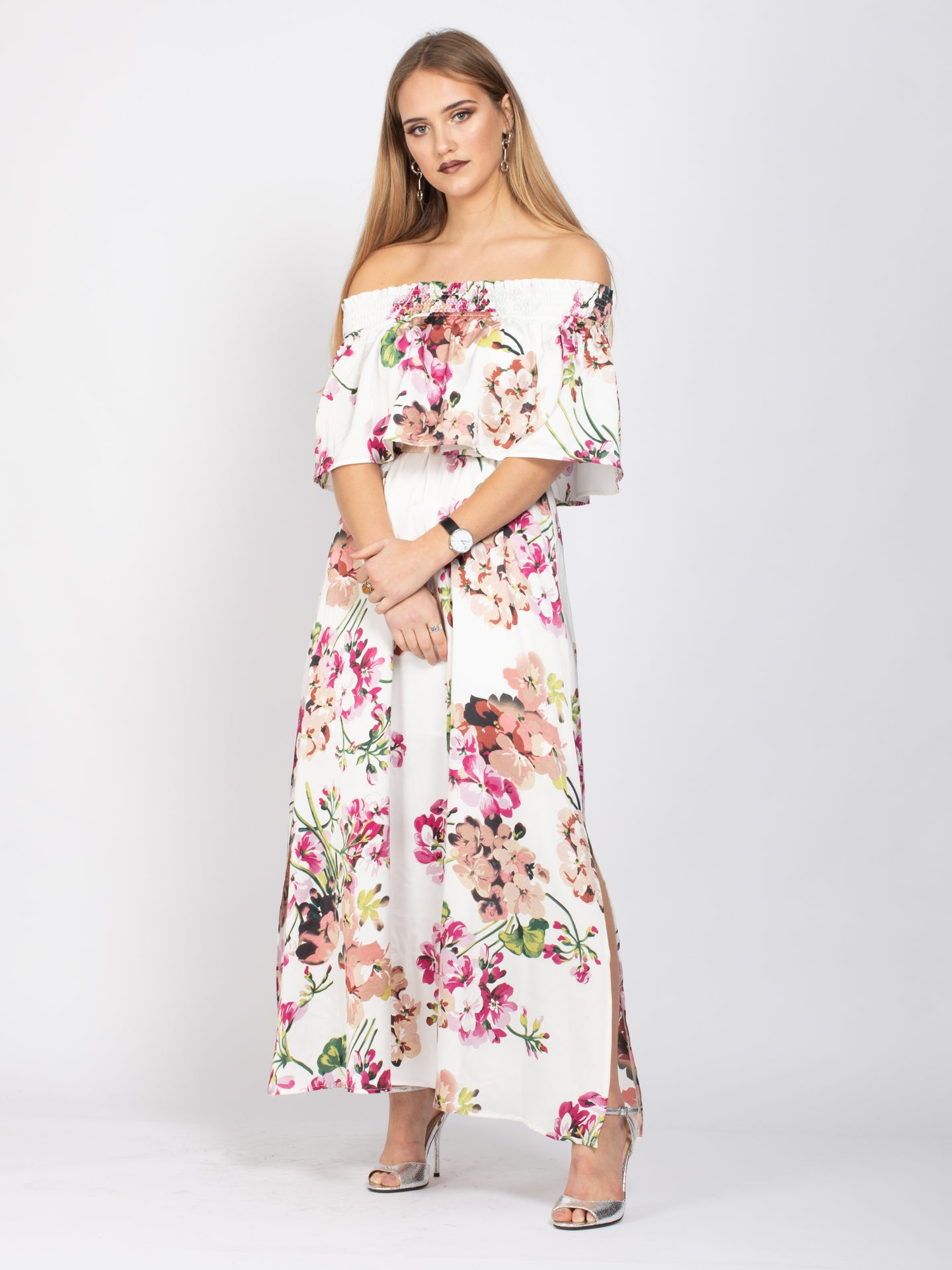 Sample Sale - Bardot Neck Tie Waist Maxi Dress, White Floral