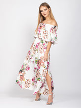 Load image into Gallery viewer, Bridesmaid Bardot Neck Tie Waist Maxi Dress, White Floral