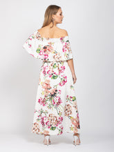 Load image into Gallery viewer, Sample Sale - Bardot Neck Tie Waist Maxi Dress, White Floral