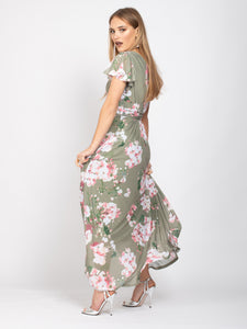 Bridesmaid V-Neck Frill Sleeve Maxi Dress, Khaki Floral