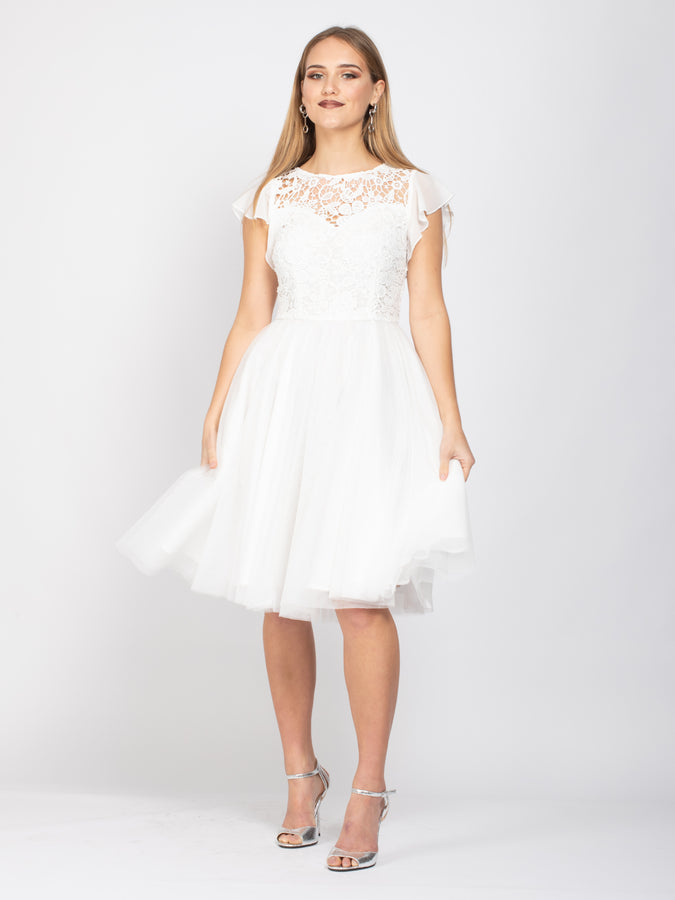 Sample Sale -Frill Sleeve Lace Midi Dress, White