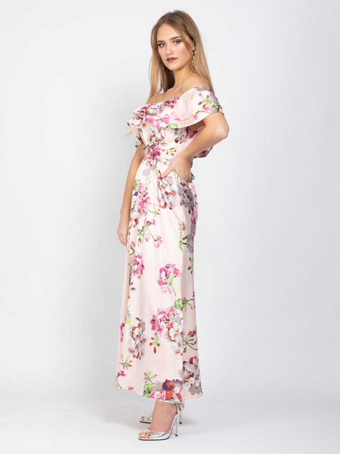 Sample Sale - Bardot Neck Tie Waist Maxi Dress, Pink Floral