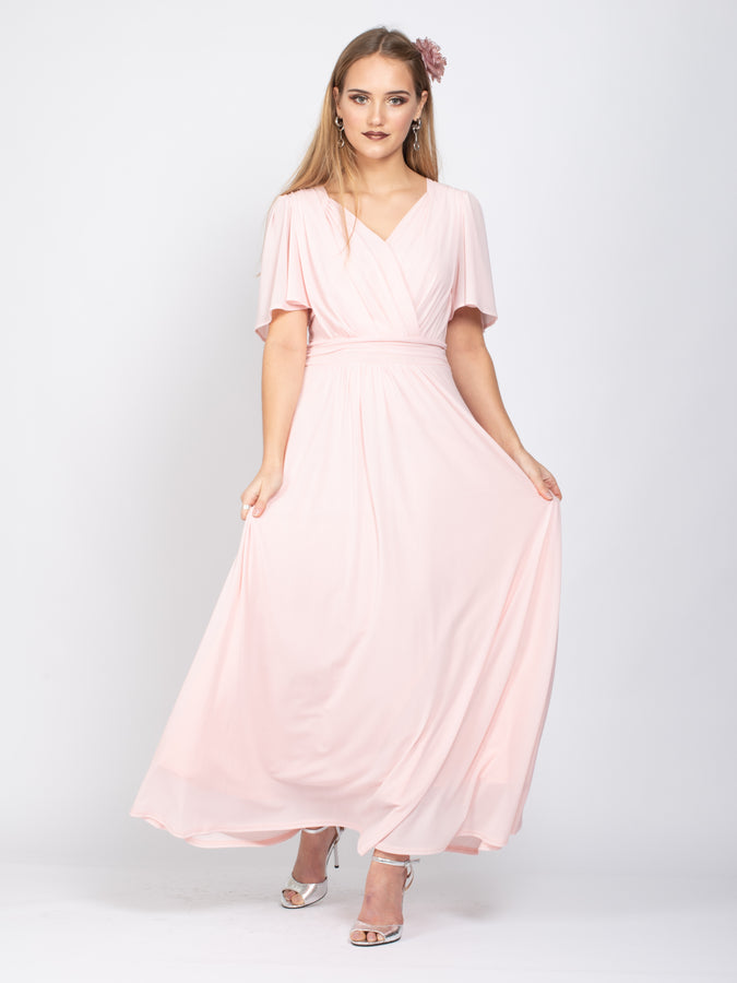 Sample Sale- V-Neck Angel Sleeve Maxi Dress, Light Pink
