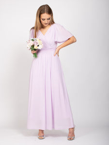 Bridesmaid V-Neck Angel Sleeve Maxi Dress,  Mauve