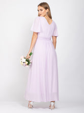 Load image into Gallery viewer, Bridesmaid V-Neck Angel Sleeve Maxi Dress,  Mauve