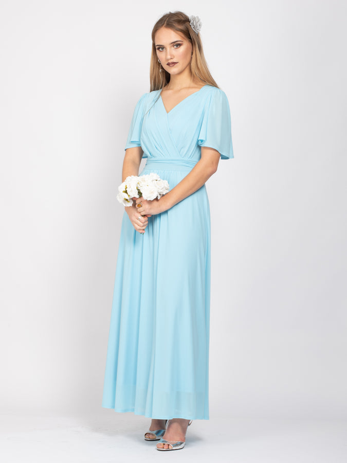 Sample Sale -V-Neck Angel Sleeve Maxi Dress, Ice Blue