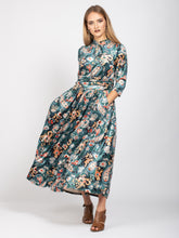 Load image into Gallery viewer, Velvet Tie Neck Maxi Dress, Teal Paisley