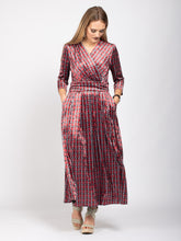 Load image into Gallery viewer, Velvet Crossover Maxi Dress, Geo Multi