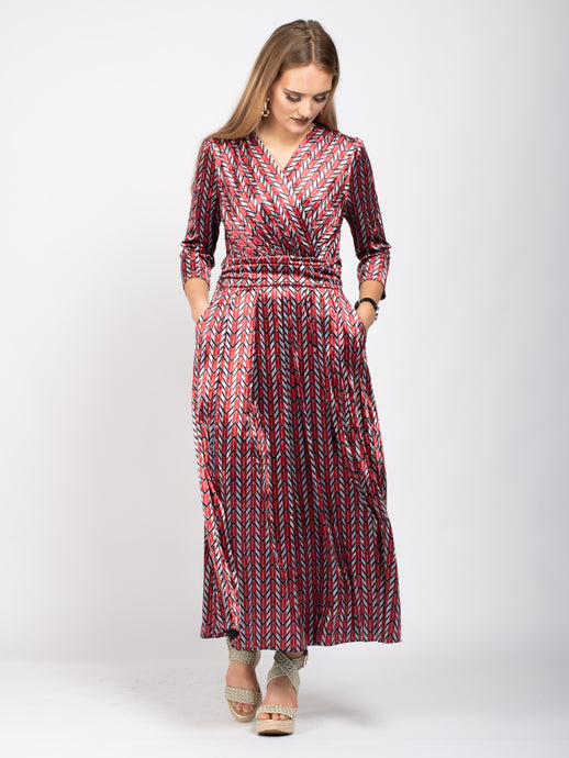 Velvet Crossover Maxi Dress, Geo Multi