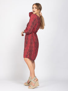 Long Sleeve Button Down Dress, Red Snake Print
