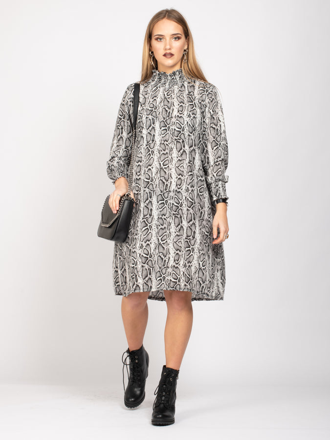 Long Sleeve High Neck Box Dress, Black Grey Snake